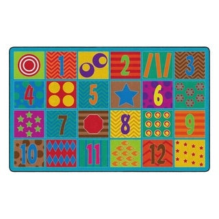 "Flagship Carpet Kids Nylon Counting Fun Classroom Seating Rug, Seats 24 - 7'6"" x 12' - 7'6"" x 12'"