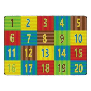 "Flagship Carpet Kids Nylon Counting Classroom Seating Rug, Seats 20 - 6' x 8'4"" - 6' x 8'4"""