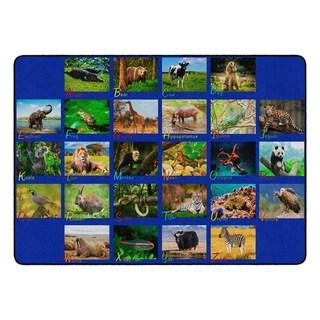 "Flagship Carpet Kids Nylon Alphabet Animals Classroom Seating Rug - 6' x 8'4"" - 6' x 8'4"""