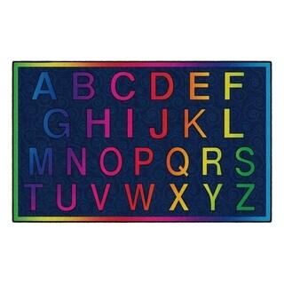 Flagship Carpet Kids Nylon Cheery Alphabet Classroom Seating Rug - 5' x 8' - 5' x 8'