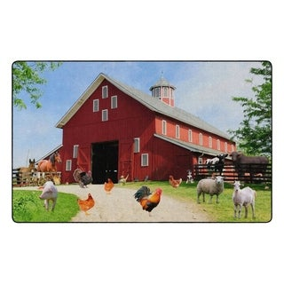 "Flagship Carpet Kids Nylon Barn Animals Classroom Seating Rug - 7'6"" x 12' - 7'6"" x 12'"