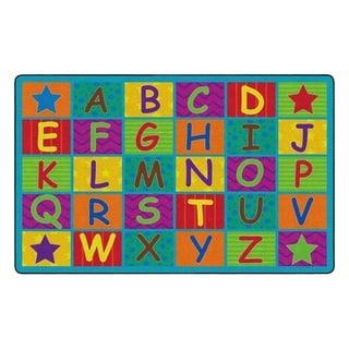 "Flagship Carpet Kids Nylon Cheerful Alphabet Classroom Seating Rug - 7'6"" x 12' - 7'6"" x 12'"