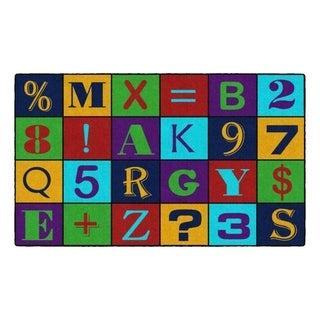 Flagship Carpet Kids Nylon Alphabet Number Jumble Classroom Seating Rug - 3' x 5' - 3' x 5'