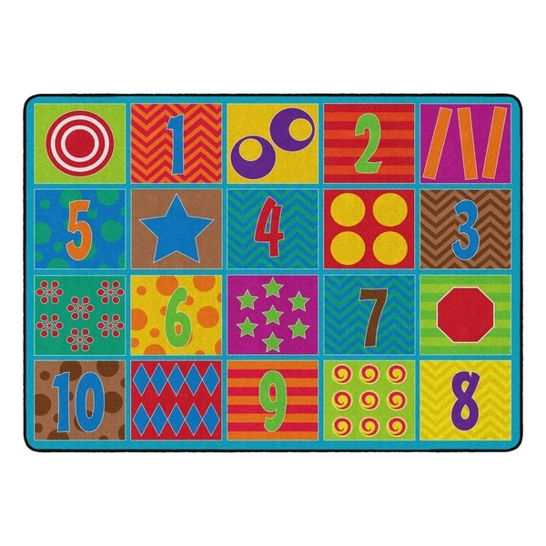 "Flagship Carpet Kids Nylon Counting Fun Classroom Seating Rug, Seats 20 - 6' x 8'4"" - 6' x 8'4"""