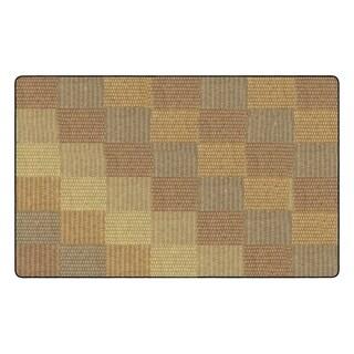 "Flagship Carpet Kids Nylon Cozy Basketweave Blocks Classroom Seating Rug, Natural - 7'6"" x 12' - 7'6"" x 12'"