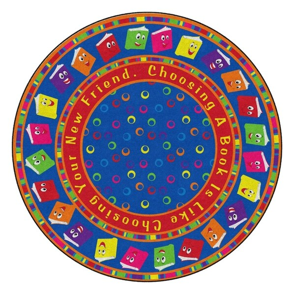 Flagship Carpet 6' Round Kids Nylon Circle Time Books Bright Classroom Seating Rug - 6' Round