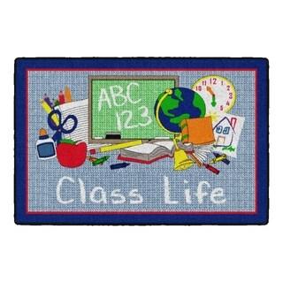 Flagship Carpet Kids Nylon Class Life School Seating Rug, Blue - 3' x 2' - 3' x 2'