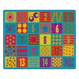 "Flagship Carpet Kids Nylon Counting Fun Classroom Seating Rug, Seats 30 - 10'9"" x 13'2"" - 10'9"" x 13'2"""