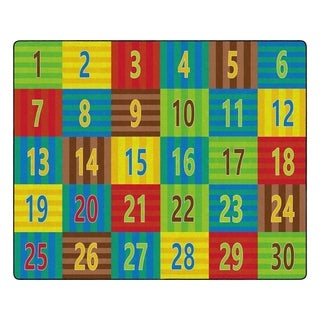 "Flagship Carpet Kids Nylon Counting Classroom Seating Rug, Seats 30 - 10'9"" x 13'2"" - 10'9"" x 13'2"""