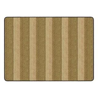 "Flagship Carpet Kids Nylon Cozy Basketweave Stripes Classroom Seating Rug, Natural - 6' x 8'4"" - 6' x 8'4"""