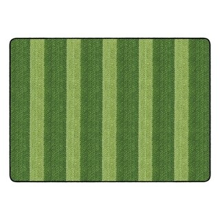 "Flagship Carpet Kids Nylon Cozy Basketweave Stripes Classroom Seating Rug, Green - 6' x 8'4"" - 6' x 8'4"""