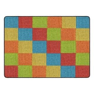 "Flagship Carpet Kids Nylon Cozy Basketweave Blocks Classroom Seating Rug, Multi - 6' x 8'4"" - 6' x 8'4"""