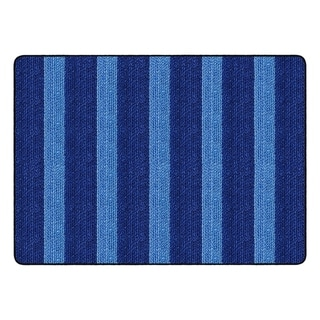 "Flagship Carpet Kids Nylon Cozy Basketweave Stripes Classroom Seating Rug, Blue - 6' x 8'4"" - 6' x 8'4"""