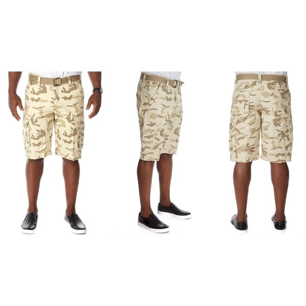 Raw X Mens Belted Double Cargo Shorts with Hidden Snaps