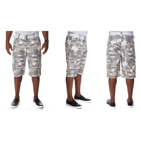 Raw X Men's Belted Stacked Cargo Shorts with Hidden Snaps