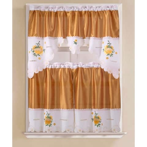 Porch & Den Eastview Faux Silk 3-piece Kitchen Curtain Set