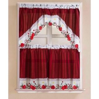 Porch & Den Eastview Faux Silk 3-piece Kitchen Curtain Set