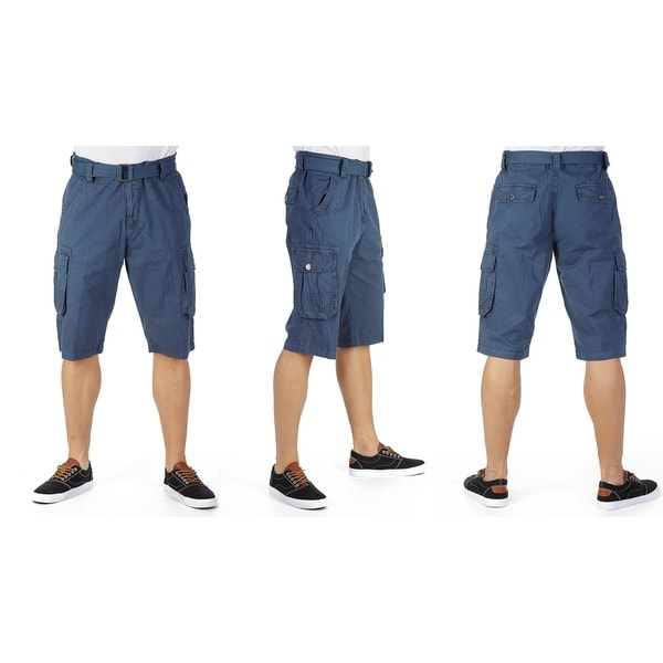 Raw X Mens Belted Heavy Stitched Cargo Shorts
