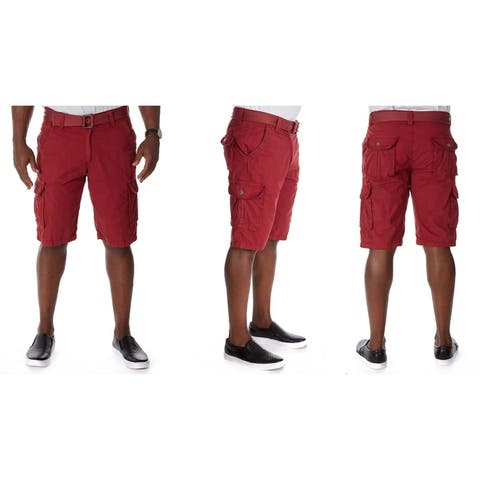 Raw X Men's Belted Twill Tape Cargo Shorts with Snaps