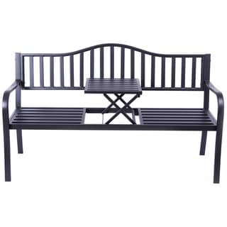 Powder Coated Black Steel Patio Garden Park Bench with Middle Table