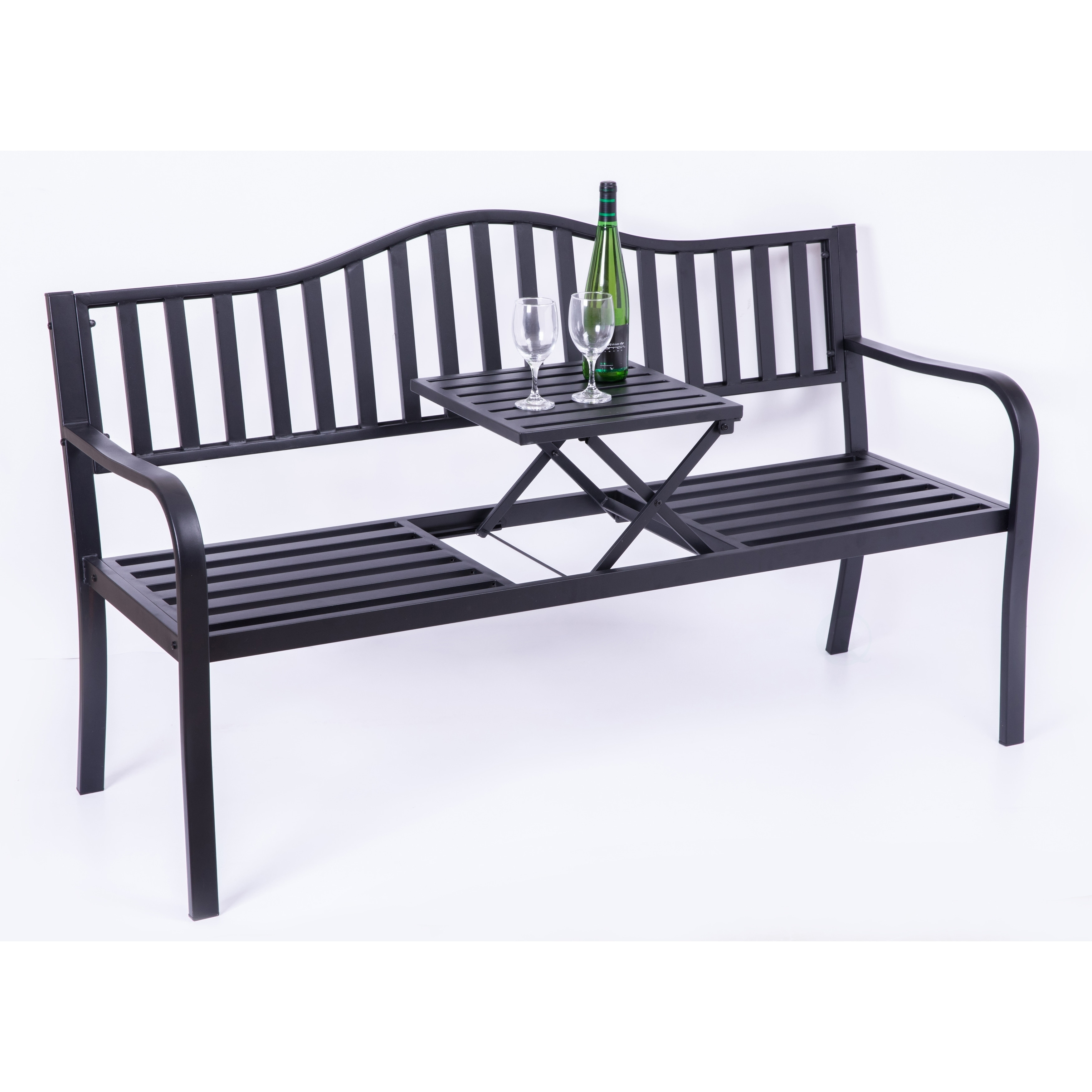 Picture of: Shop Black Friday Deals On Powder Coated Black Steel Patio Garden Park Bench With Middle Table Overstock 27479552