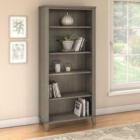 "Copper Grove Shumen Ash Grey 5-shelf Bookcase - 29.57""L x 12.81""W x 65.21""H"