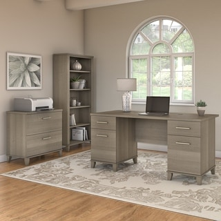 Copper Grove Shumen 60-inch Office Desk with Cabinet and 5-shelf Bookcase in Ash Gray
