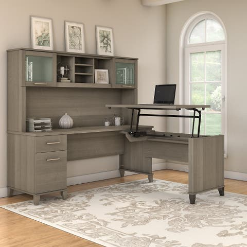 Copper Grove Shumen 72-inch 3-position Sit to Stand L-shaped Desk with Hutch in Gray