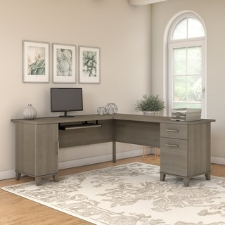 Shop Cappuccino Computer Desk With Tempered Glass Free