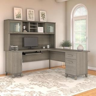 Copper Grove Shumen 72-inch L-shaped Desk with Hutch in Ash Gray