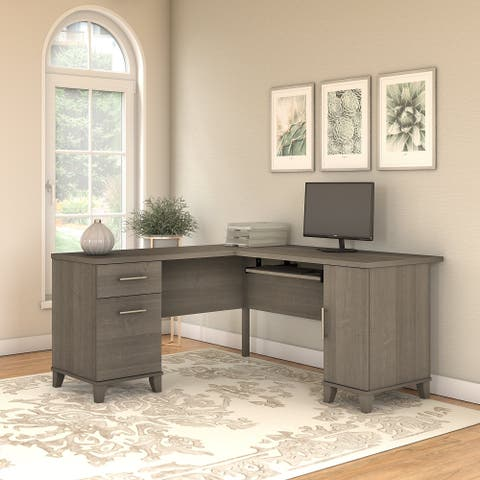 Copper Grove Shumen 60-inch L-shaped Desk in Ash Gray