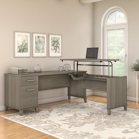 Copper Grove Shumen 72-inch 3-position Sit to Stand L-shaped Desk in Ash Gray