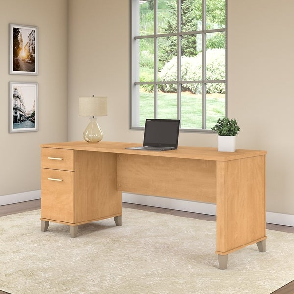 Bush Furniture Somerset 72w Office Desk With Drawers In Maple Cross Free Shipping Today 27479939