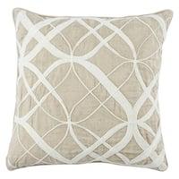 Nikki Chu Calais Geometric White/ Beige Throw Pillow (As Is Item)