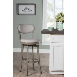 The Gray Barn Chatterly Aged Grey Wood Upholstered Swivel Counter-height Stool