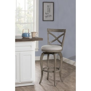 The Gray Barn Chatterly Grey Wood Bar Height Swivel Stool