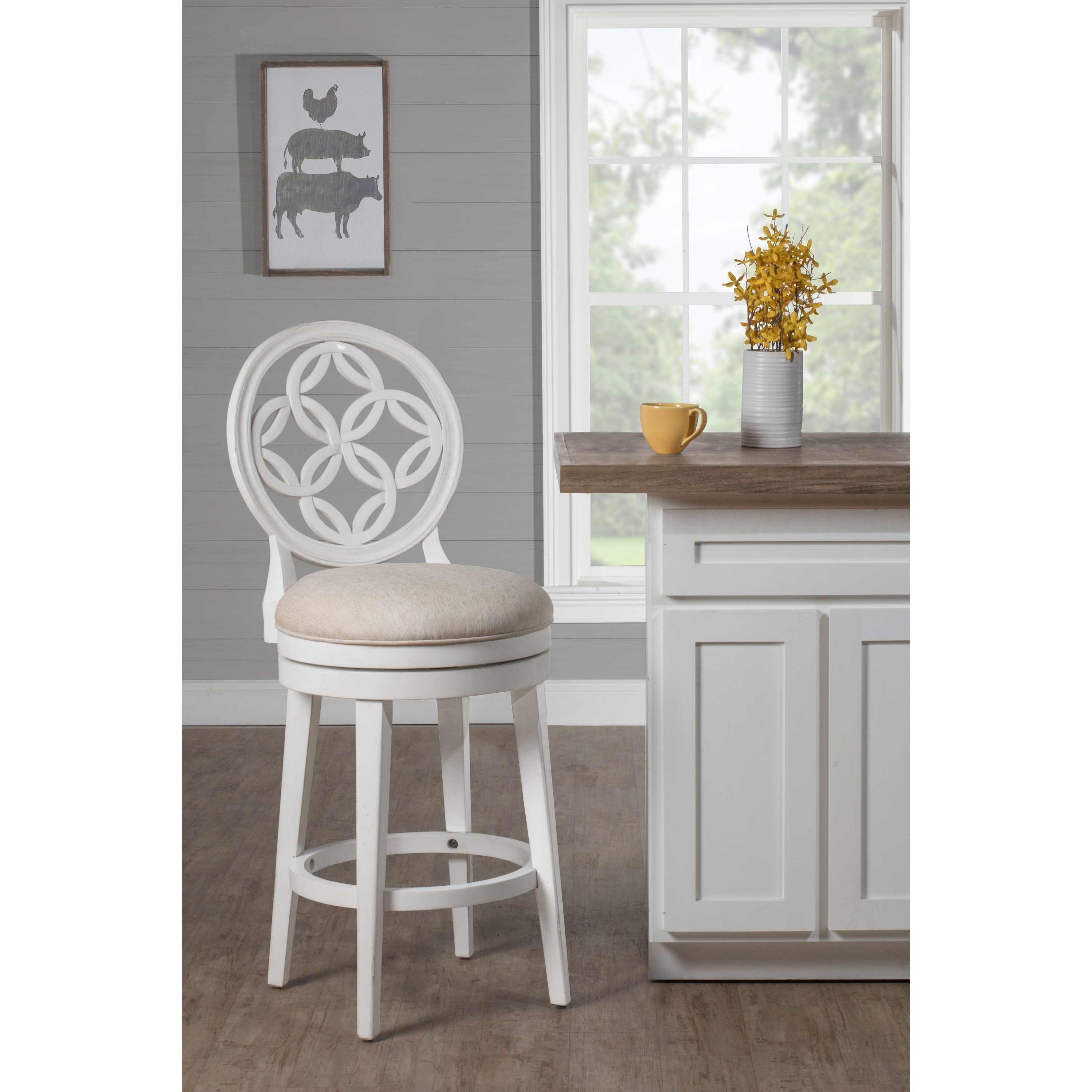 Sensational Copper Grove Cholet White Wood Fabric Upholstered Counter Height Swivel Stool Ibusinesslaw Wood Chair Design Ideas Ibusinesslaworg