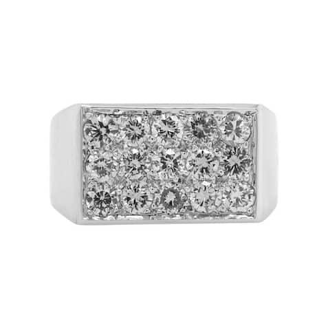14K White Gold Diamond 1970's Vintage Ring (I - J,VS1 - VS2) Size - 9.5