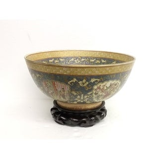 Antique Asian Round Porcelain Bowl w/ Stand