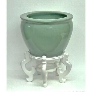 Solid Celadon Porcelain Fishbowl w/ Stand