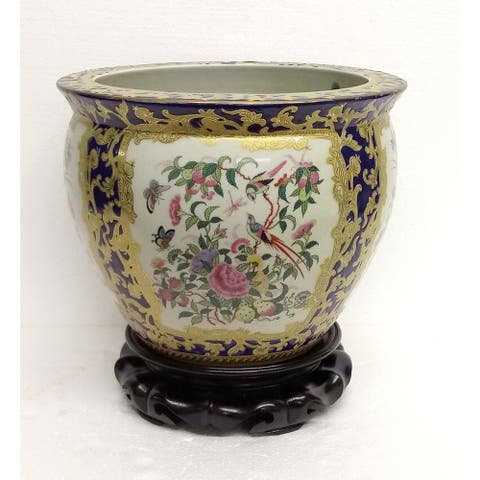 """Rose Medallon Blue & Gold Scroll 10"""" Fishbowl w/ Stand"""