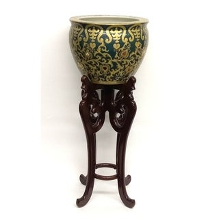 Green & Gold Scroll Porcelain Fishbowl w/ High Wooden Stand