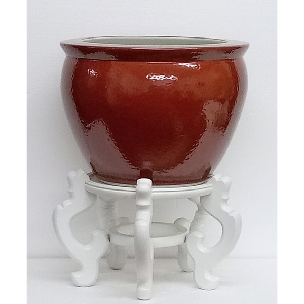 """Porcelain 12"""" Oxblood Fishbowl w/ Stand"""