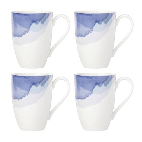 Lenox Indigo Watercolor Stripe Mug, Set of 4