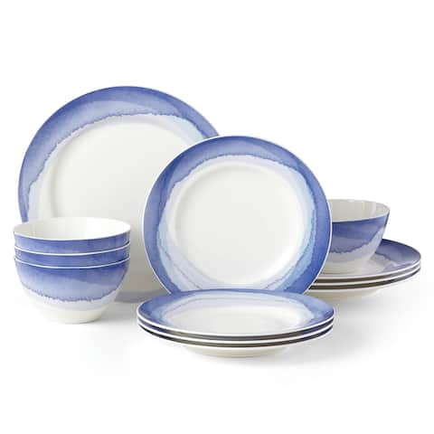 Lenox Indigo Watercolor Stripe 12 Piece Set