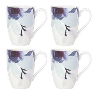 Lenox Indigo Watercolor Floral Mug, Set of 4