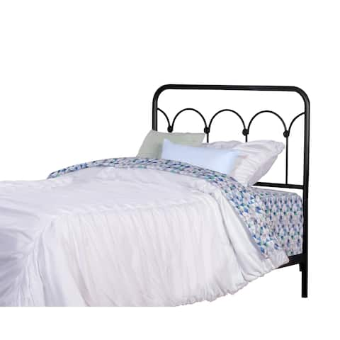 Copper Grove Suvorovo Textured Black Metal Twin Headboard With Frame
