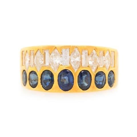 18K Yellow Gold Diamond and Sapphire Vintage Band Ring (H-I,VS1-VS2)