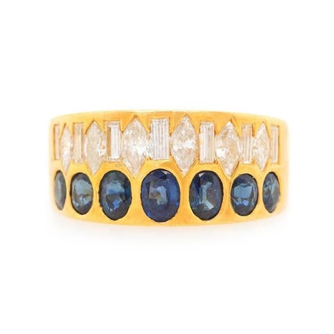 18K Yellow Gold Diamond And Sapphire Vintage Band Ring (H-I,VS1-VS2)