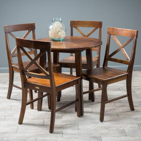 Carridge 5-piece Round Wood Dining Set by Christopher Knight Home